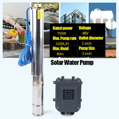 3 Dc Deep Bore Well Solar Water Pump 48v 1hp Submersible Mppt Controller Kit Us