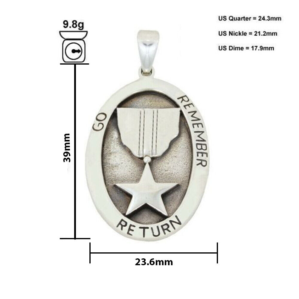 Patriotic Go Remember Return .925 Sterling Silver Pendant by Peter Stone