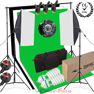 Studio Photography Softbox Lighting Kit Background Stand Free 3 Backdrop Clamps