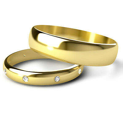 Yellow Gold His & Hers Diamond Wedding Ring Set D Shaped Band UK Made & Hallmark D-shaped Band Wedding Ring