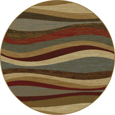 8x8 Round Elegance Abstract Multi-Color Lines 5420 Area Rug - Approx 7'10 -