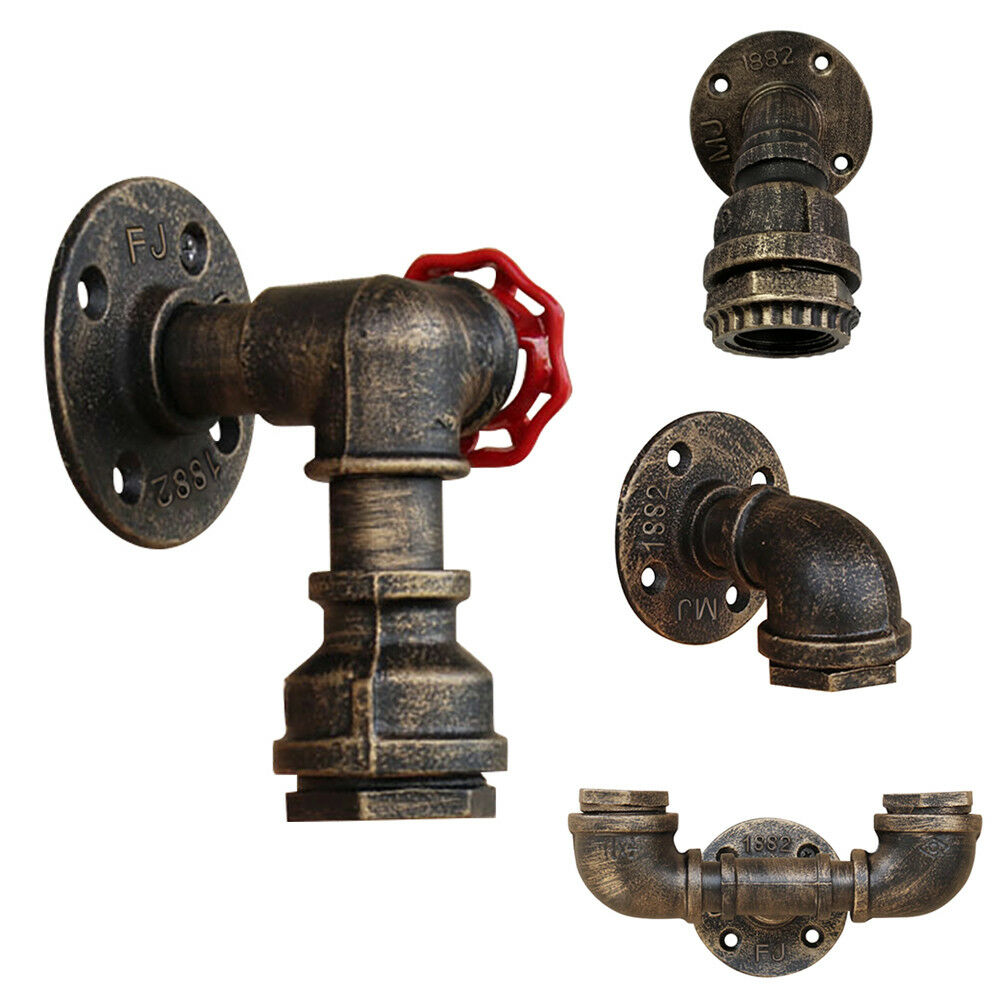 Retro Vintage Industrial Iron Water Pipe Wall Lamp Faucet Sc