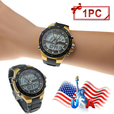 Men's Sport Military Digital Big Dial Date Chronograph Analog Resin Wrist -