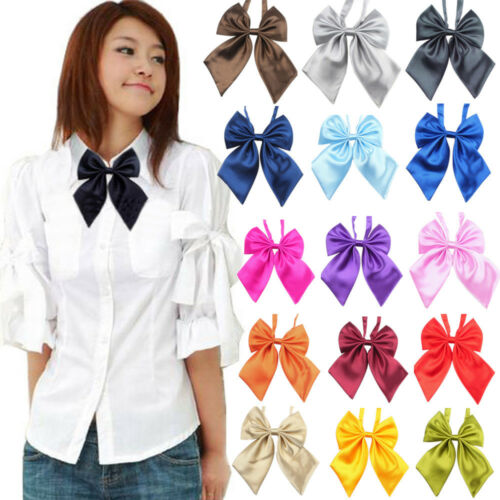 Women Studern Bow Tie Fashion Girl Satin Novelty BIG Bow Tie Wedding Gift L