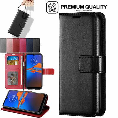 For Motorola Moto E6 Plus Premium Flip Slim Leather Wallet Case Cover + Stand
