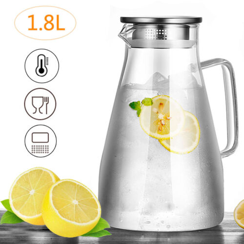 1,8L Wasserkaraffe Wasserkrug Kühlkaraffe Glaskaraffe mit Edelstahl Filter Glas