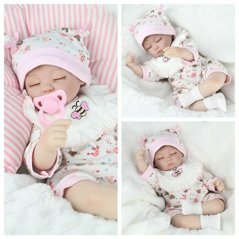 "16"" Reborn Baby Dolls Handmade Newborn Lifelike Vinyl Silicone Sleeping Girl Toy"