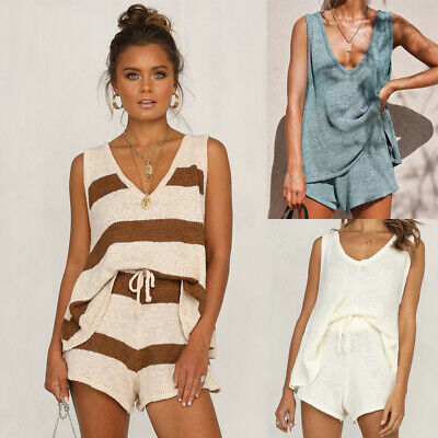 Womens 2 pcs Ladies Tops Lace Up Knitted Set Hot Pants Casual Loose Summer Suit