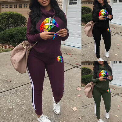 Women 2PCS Tracksuit Suit Ladies Hooded Sweatshirt Long Pants Sportsuit Winter