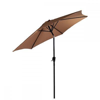New Tan Patio Umbrella 9' Aluminum Patio Market Umbrella Tilt W/ Crank Outdoor38