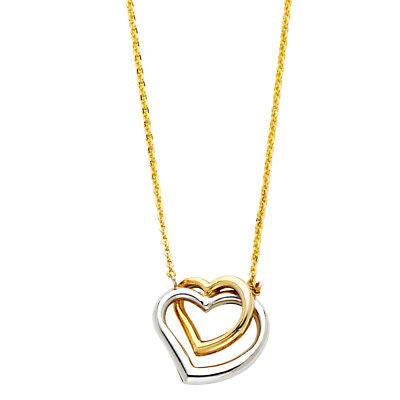 Real 14K Two Tone Gold Heart Pendant Charm Adjustable Rolo Chain Necklace Set  14k Two Tone Setting