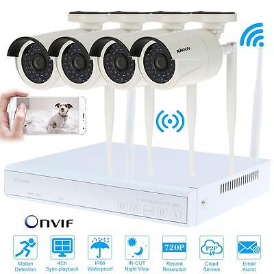 4CH NVR HD HDMI+4x 720P WiFi IP Kamera Überwachung Außen Wasserdicht P&P S5O5