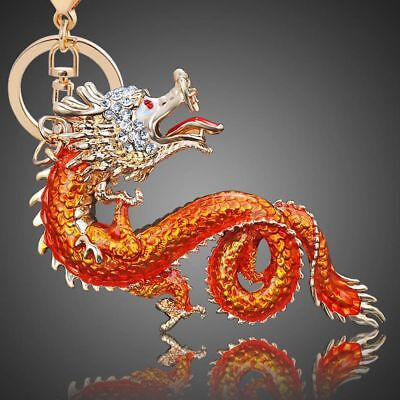 Rhinestone Alloy Dragon Shape Handbag Charm Key Chain Key Holder Key Ring