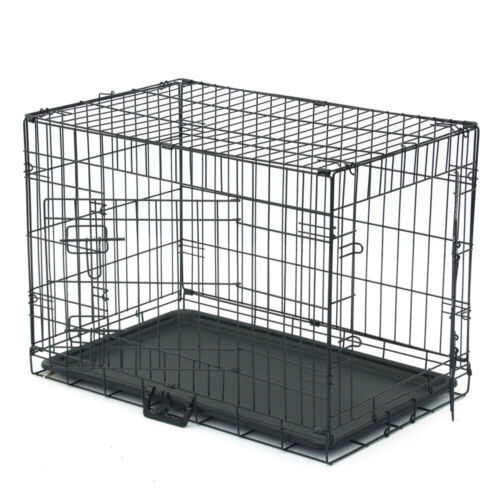 "30"" inch Dog Crate Kennel Folding Metal Pet Cage 2 Door Divi"