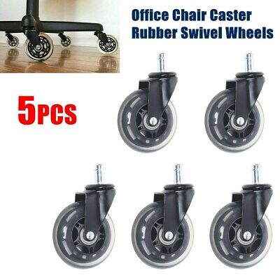 Set Of 5 Heavy Duty Office Chair Caster 3-inch Rubber Swivel Wheels Replacement