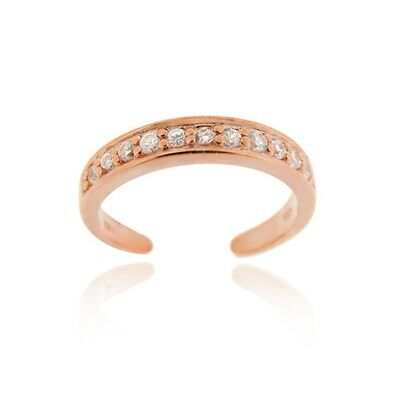 18K Rose Gold Over Silver Channel-Set CZ Toe Ring