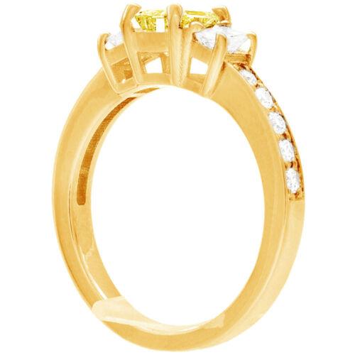 Diamond Engagement Ring GIA Certified Fancy Yellow Emerald Cut 18k Gold 2.31 CT 4
