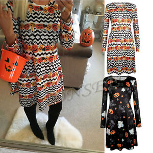 Halloween Ladies Women's Pumpkin Print Long Sleeve Party Swing Short Mini Dress