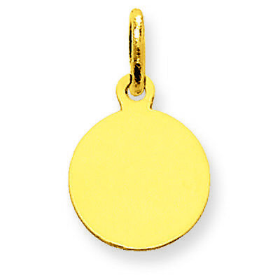10K Yellow Gold .013 Gauge Engravable Round Disc Charm Pendant MSRP $87