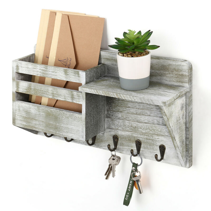 Wall Mount Wooden Mail & Key Holder Organizer Mail Sorter with 6 Key Hooks