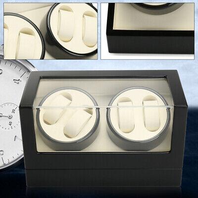 2 Motors Automatic Watch Winder 4+0 Storage Display Case Box Wooden Luxury Black