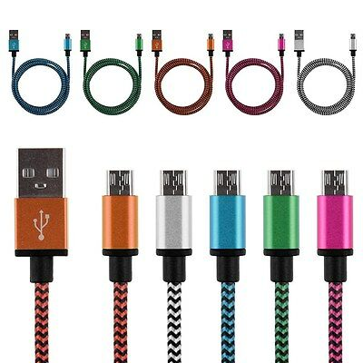 Braided Aluminum Micro USB Data&Sync Charger Cable Cord For Android Cell Phone