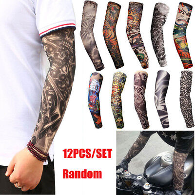 12Pcs Tattoos Cooling Arm Sleeves Cover Body Arm Stockings Tatoo Golf Sport US (Tattoo Sleeves)