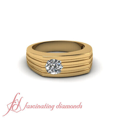 1/4 Carat Round Cut Diamond Solitaire Engagement Ring For Men In 18K Yellow Gold