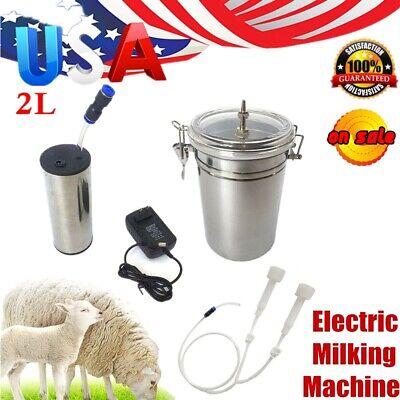2l Electric Milking Machine Vacuum Pump Strong Suction Milker Tank For Farm