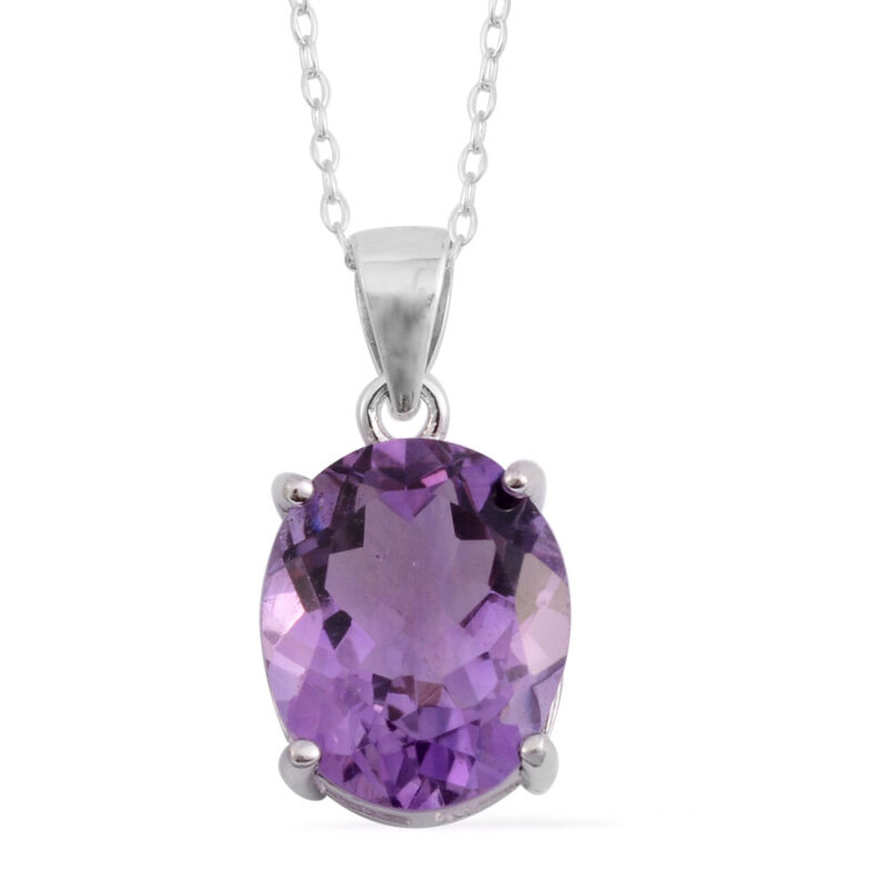 """925 Sterling Silver Purple Amethyst Chain Oval Solitaire Pendant Necklace18"""""""