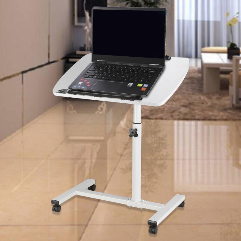Schreibtisch Computertisch Laptoptisch Rollbar höhenverstellbar Weiß DE