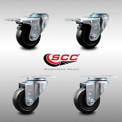Ss Hard Rubber Caster Set Of 4 W3 Wheels - 2 Wttl Brakes 2 Swivel