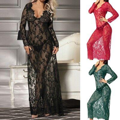 Black Negligee - Sexy Women Negligee Nightie Lingerie Lace Beautiful Black Lingerie Long Dress