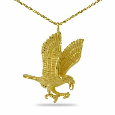 14K Honored Eagle Solid Gold Pendant/Necklace Funeral Cremation Urn for Ashes for sale  Manassas