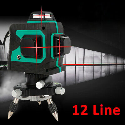 3d Self-leveling 650nm Red Beam 360 Rotary Rotating Red Laser Level Tool Kit Usa