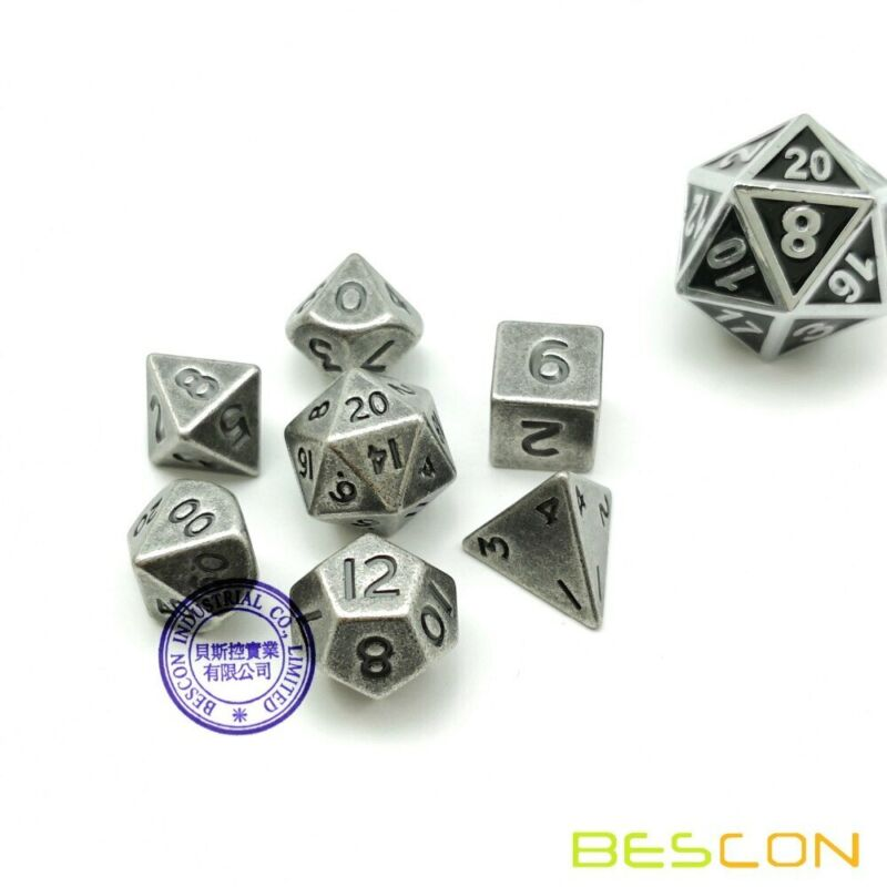 Bescon 10MM Mini Solid Metal Polyhedral D&D RPG Miniature Dice Set Old Nickle