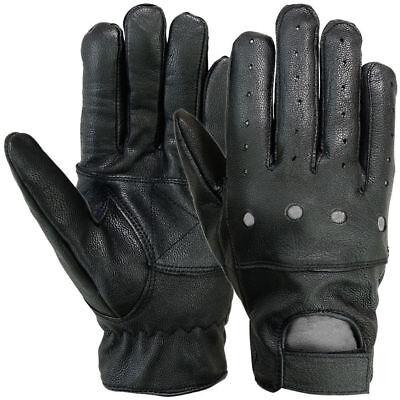Mens Motorcycle Gloves Car Driving Motorbike Full Finger Leather Wrist Strap MRX Black Full Finger Leather Gloves