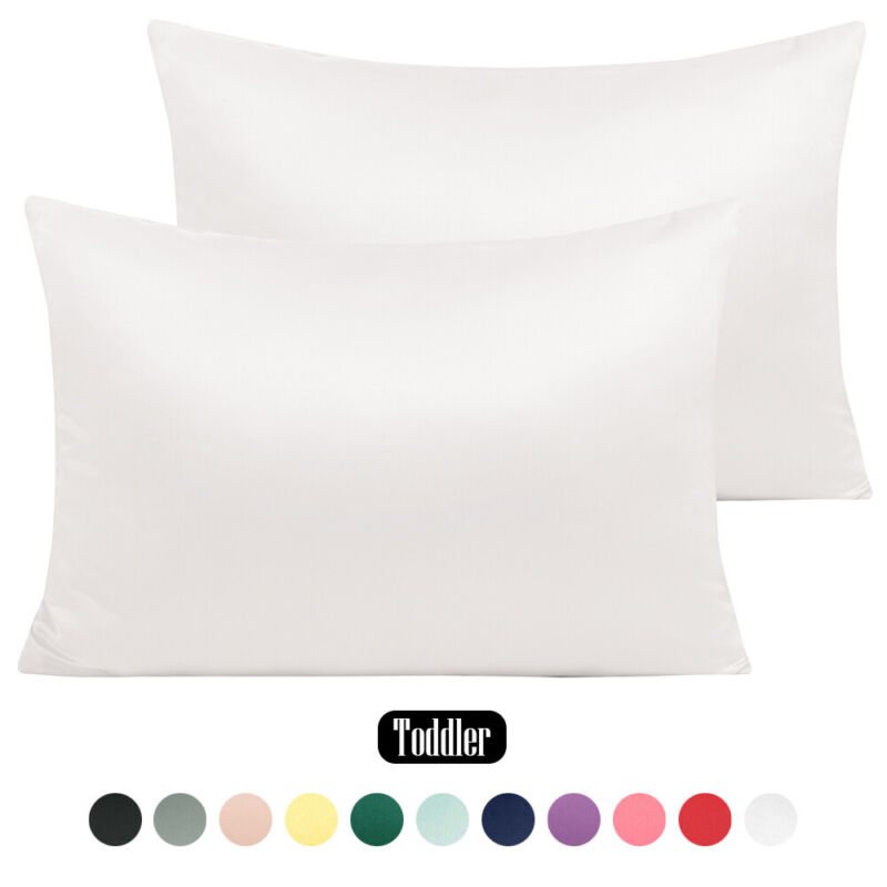 """Silk Satin Toddler Pillowcase 2 Pack Silky Pillow Cases For Hair and Skin 13""""x18"""