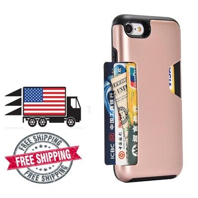 iPhone 8  and iPhone 7 Wallet Case Credit Card Slot Shockproof