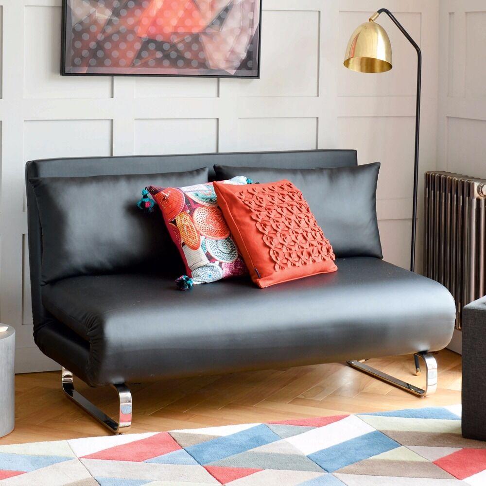 Stylus Faux Leather Sofa Bed/futon Black