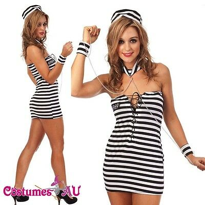 New Halloween Women Girls Jail Prisoner Fancy Dress Costume Full Outfit sz S-XL](Girl Jail Halloween Costume)