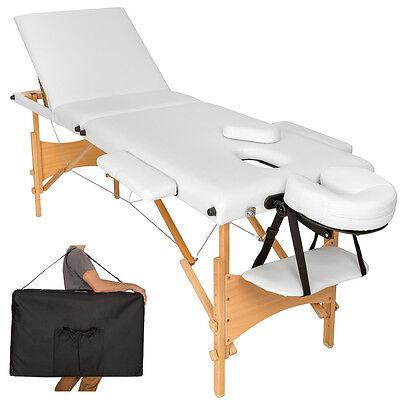 Mobile Massageliege Massagetisch Massagebank 3 Zonen klappbar weiß mit Tasche