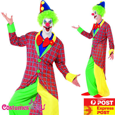 Deluxe Mens La Circus Clown Costume Adults Joker Hens Stag Night Party Outfits