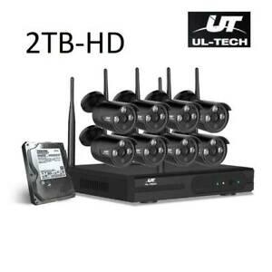 CCTV Wireless Security System 2TB 8CH NVR 1080P 8 Camera Sets