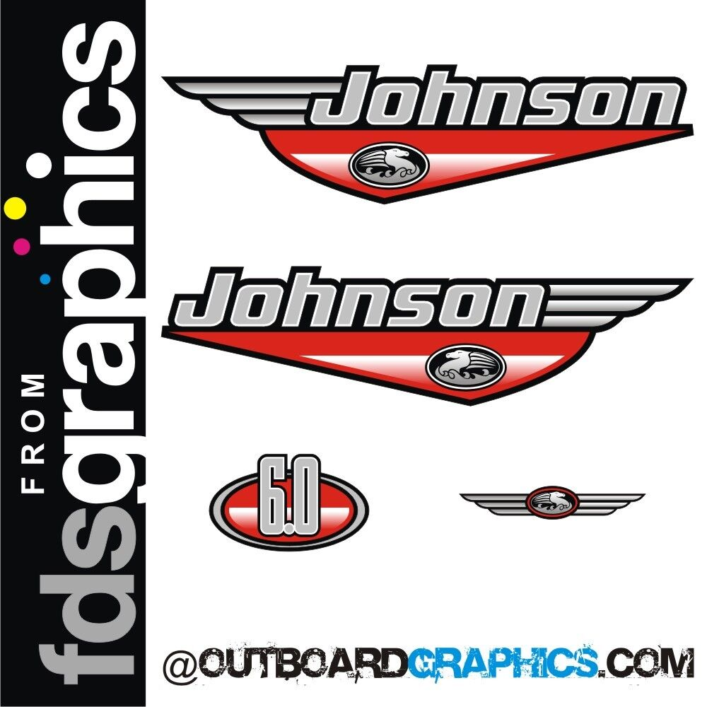 Johnson 6hp outboard engine decals/sticker kit