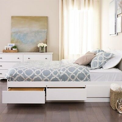 Prepac Mates Bed - Prepac White Queen Mate's Platform Storage Bed with 6 Drawers