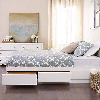 Bed Frames for Queen Size Bed with Storage White Captain Sto