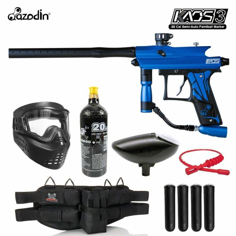 Maddog Azodin Kaos 3 Silver Paintball Gun Marker Starter Package Blue Black