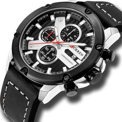 CURREN Casual Sport Watches for Men Top Brand Luxury Military Leather (Luxury Brands For Men)