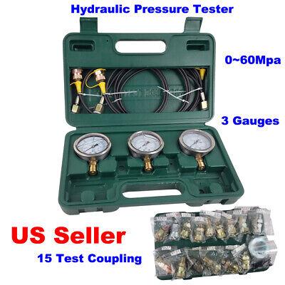 Hydraulic Hydraulic Pressure Tester Excavator Kit 15 Test Coupling 3 Gauge